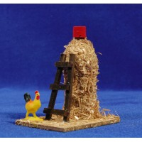 Barn with stair and chicken 10 cm straw