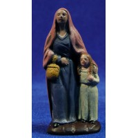 Pastora con niña 7 cm barro pintado Figuralia
