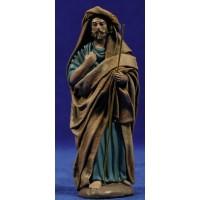 Pastor anciano y bastón 12 cm ropa y barro Figuralia