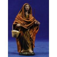 Pastora con cesto huevos 12 cm ropa y barro Figuralia