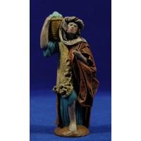 Pastor con cesto 12 cm ropa y barro Figuralia