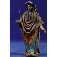 Pastor con bastón 12 cm ropa y barro Figuralia