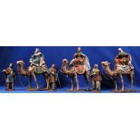 Reyes a camello 16 cm barro pintado Figuralia
