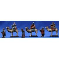 Reyes a camello 5 cm barro pintado Figuralia