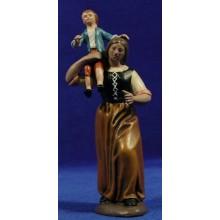 Pastora con niña en hombros 16 cm barro pintado Figuralia