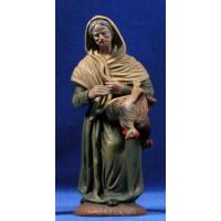 Pastora con gallina 18 cm barro pintado Figuralia