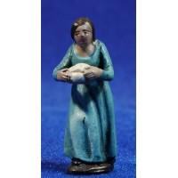 Pastora con pan 5 cm barro pintado Figuralia