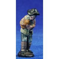Pastor músico con gaita 5 cm barro pintado Figuralia
