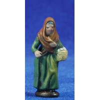 Pastora con huevos 5 cm barro pintado Figuralia