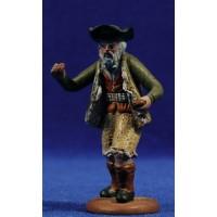 Pastor músico anciano con castañuelas 9 cm barro pintado Figuralia