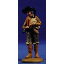 Pastor músico con gaita 9 cm barro pintado Figuralia