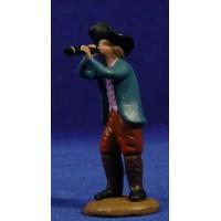 Pastor músico con flauta 9 cm barro pintado Figuralia