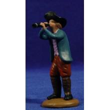 Pastor musico con flauta 9 cm barro pintado Figuralia
