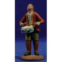 Pastor musico con tambor 9 cm barro pintado Figuralia