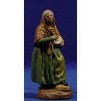 Pastora músico con zambomba 9 cm barro pintado Figuralia