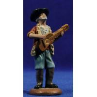 Pastor musico con guitarra 9 cm barro pintado Figuralia