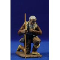 Pastor adorando con bastón 16 cm barro pintado Figuralia