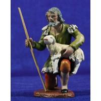 Pastor adorando con cordero 16 cm barro pintado Figuralia