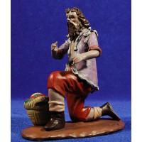 Pastor adorando con cesto fruta 18 cm barro pintado Figuralia