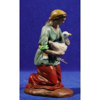 Pastora adorando con pato 18 cm barro pintado Figuralia