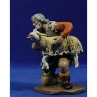 Pastor adorando con cordero 18 cm barro pintado Figuralia