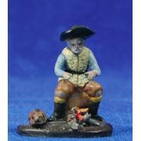 Pastor con hoguera 5 cm barro pintado Figuralia