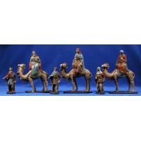 Reyes a camello 12 cm barro pintado Figuralia
