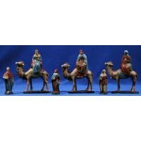 Reyes a camello 9 cm barro pintado Figuralia