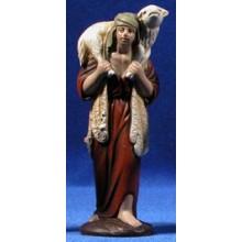 Pastor con cordero 12 cm barro pintado Figuralia