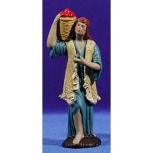Pastor con cesto 12 cm barro pintado Figuralia