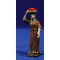 Pastora con cesta 7 cm barro pintado Figuralia