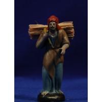 Pastor con leña 7 cm barro pintado Figuralia