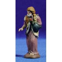 Pastor con pavo 7 cm barro pintado Figuralia