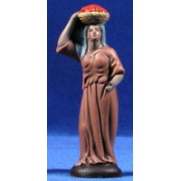 Pastora con cesta en la cabeza 9 cm barro pintado Figuralia
