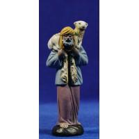 Pastor anciano con cordero 9 cm barro pintado Figuralia