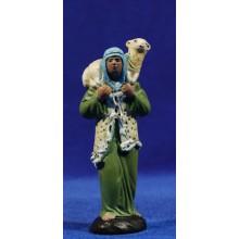 Pastor con cordero 9 cm barro pintado Figuralia