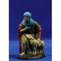 Pastor adorando con cordero 7 cm barro pintado Figuralia
