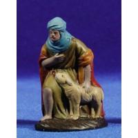 Pastor adorando con cordero 9 cm barro pintado Figuralia