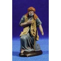 Pastor anciano adorando 9 cm barro pintado Figuralia