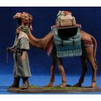 Camello de pie con hombre 7 cm barro pintado Daniel