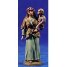 Pastora con niña 8 cm barro pintado Daniel