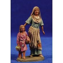 Pastora con niño 9 cm barro pintado Daniel