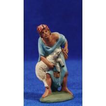 Pastor adorando con cordero 7 cm barro pintado Daniel