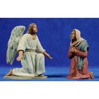 Anunciación a la Virgen 12 cm barro pintado Delgado