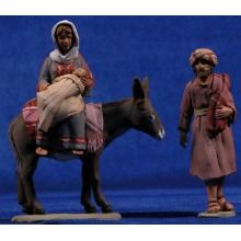 Huida a Egipto 8 cm barro pintado Delgado