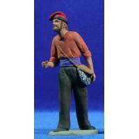 Pastor catalán con bolsa 12 cm barro pintado Delgado