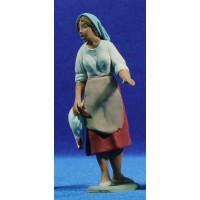 Pastora catalana con gallina 12 cm barro pintado Delgado