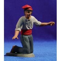 Pastor catalán adorando brazos abiertos 12 cm barro pintado Delgado