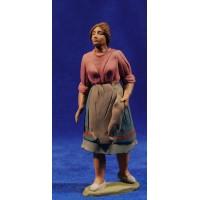 Pastora catalana con la mano en el delantal 12 cm barro pintado Delgado