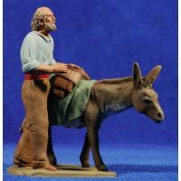 Pastor viejo catalán con asno 12 cm barro pintado Delgado